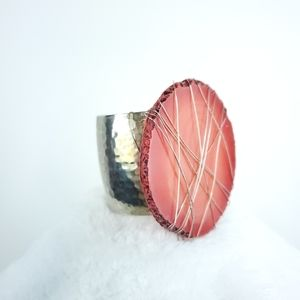 Large Red Agate Hammered Cuff Bracelet